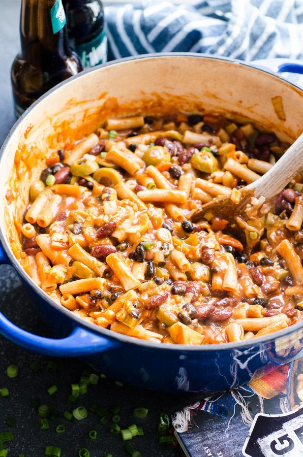 One Pot Chili Mac Recipe from Thug Kitchen 101 cookbook with beer, beans, pasta, olives, spices and cheese or make it vegan, all in 30 minutes. | http://ifoodreal.com