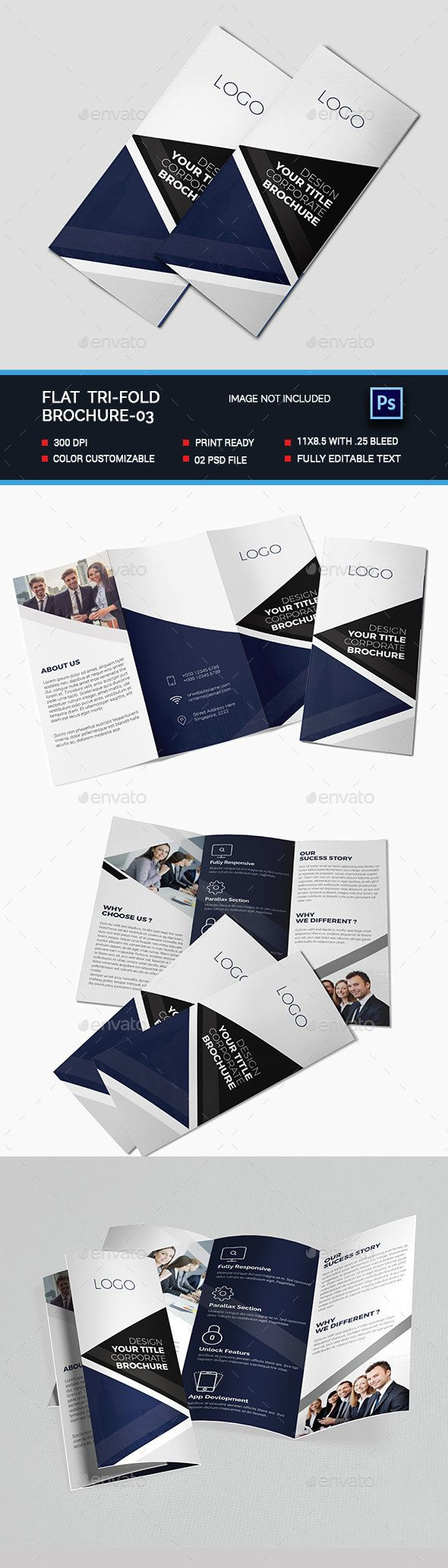 Tri-fold Brochure Template PSD. Download here…