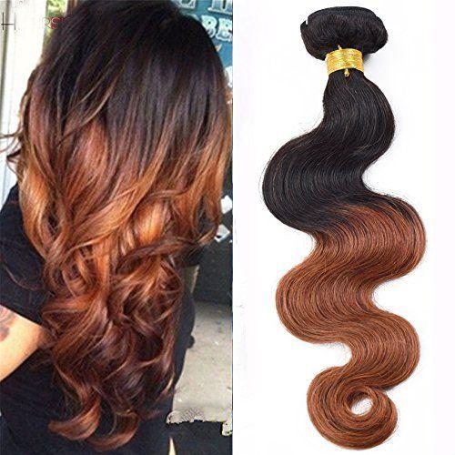 Sunny Ombre Tissage Cheveux Naturel 12 Pouces 1b/30# Naturel Noir au Auburn Bresilien Remy Cheveux Ondule Extensions Tie and Dye 100gramme:…