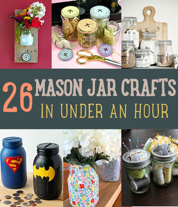 277 best mason jar crafts images on pinterest glass jars jars 26 diy mason jar crafts you can make in under an hour at http solutioingenieria Image collections