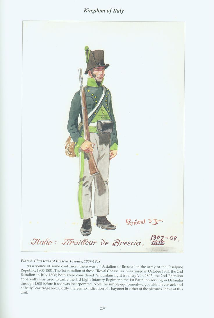 Kingdom of Italy: Plate 6: Royal Chasseurs of Brescia, Private, 1808