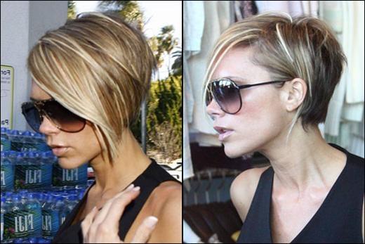 Beckham bob with long side bangs  she is soooo sassy !! love it !