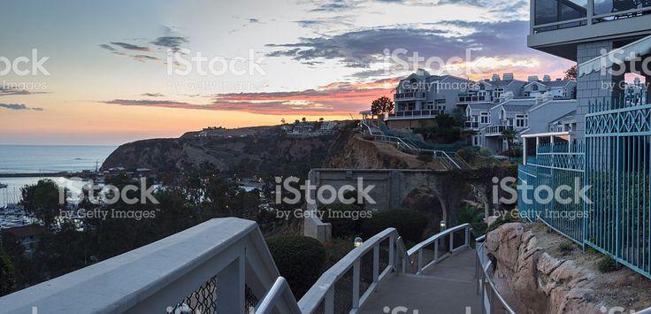 Overlook walkway of Dana Point Harbor at sunset royalty-free stock photo