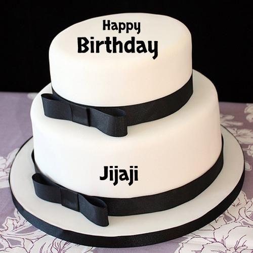 Elegant Happy Birthday Black And White Cake With Name