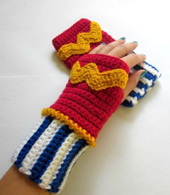 Power Wristies. Wonder Woman Inspired Wristwarmers. Superhero Fingerless Gloves. DC Comics Accessory.