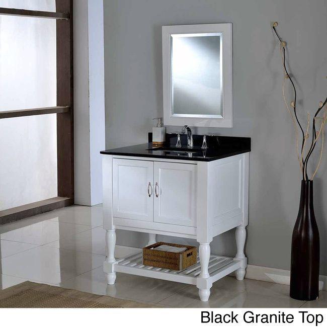 Direct Vanity 32 Inch Pearl White Mission Turnleg Spa Single Vanity Sink  Cabinet (black