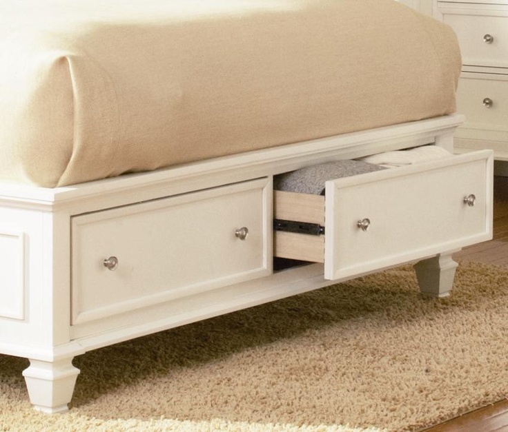 Sandy Beach Bedroom Set White Part - 31: Sandy Beach King Sleigh Bed With Footboard Storage By Coaster - Coaster -  Sleigh Bed