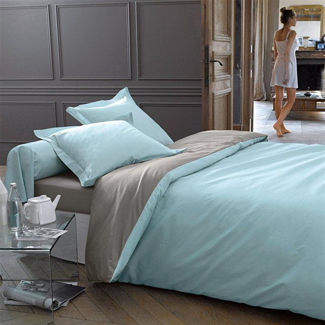 grey and duck egg Duvet Cover La Redoute