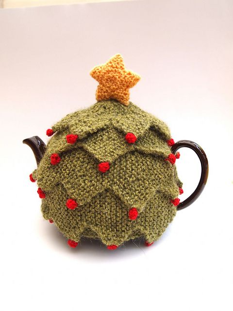 Christmas Tree Tea Cosy by Sue Stratford (needs to be done in bright green) knitting pattern £2.50 on Ravelry at http://www.ravelry.com/patterns/library/christmas-tree-tea-cosy-2