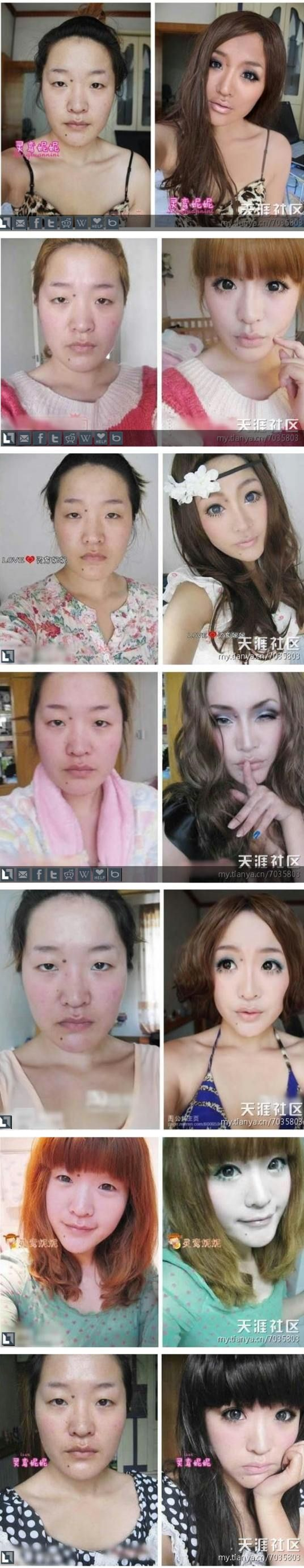 One girl turns herself into many girls after changing her hair and make up. wtf.