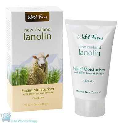 Lanolin Face Moisturiser with Green Tea and SPF 15+ - Wild Ferns - 75ml | Shop New Zealand