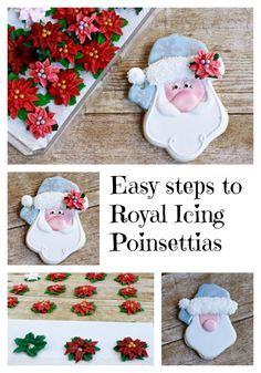 Poinsettias Royal icing Transfers and a Jolly Santa Iced Cookie Tutorial