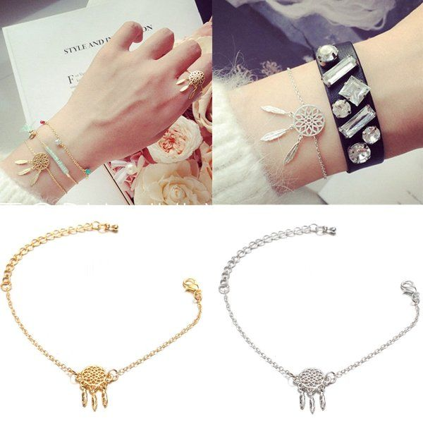 Gold Silver Feather Tassel Dream&Catcher Pendant Chain Bracelet For Women at Banggood