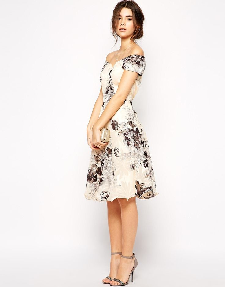 Chi London Premium Oversize Mono Floral Midi Dress With Bardot Neck Wedding Guest