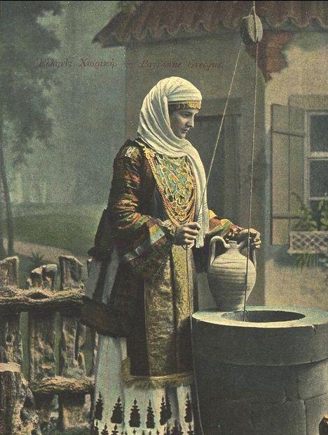 Ἑλληνίς χωρική μέ στάμνα σε πηγάδι Woman of Greece / Hellas