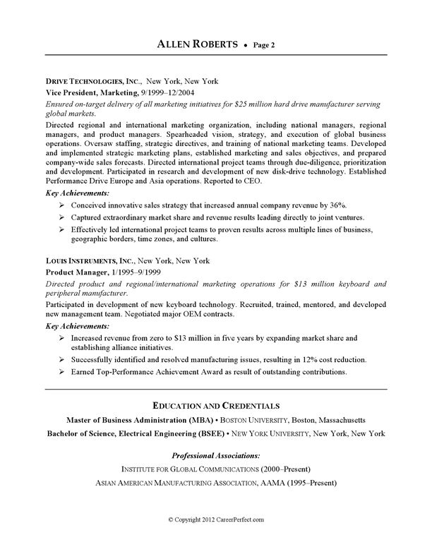 Resume Example - Executive or CEO   CareerPerfect.com