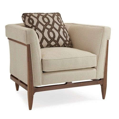 The Bigelow chair embraces popular design principles from the Arts and Crafts era and is considered a signature piece within the Modern Craftsman collection. Scaled to easily fit urban-sized floor plans, this chair, when viewed from the back, is exquisitely crafted and shaped into a linear work of art. The chairs's light-colored, basket weave fabric is accented with modern trellis pattern pillows adding strong visual interest against the warm Walnut frame. Matching sofa available…