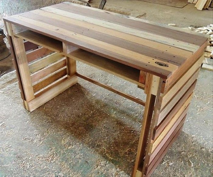 Www Recycled Things Com Wp Content Uploads 2016 02 Pallet Wood Computer Desk Jpg Pallet Diy Homemade Outdoor Furniture Pallet Furniture Table
