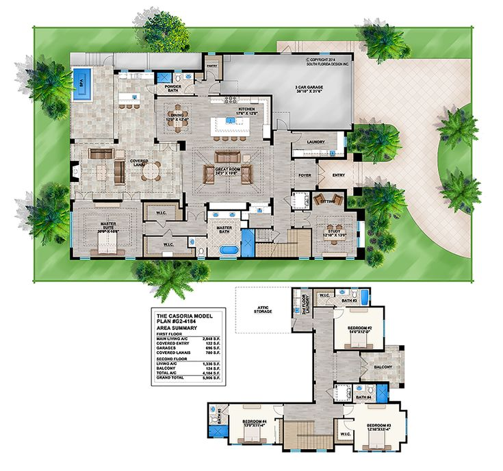 This Spacious Five Bedroom Spanish Mediterranean Style: 2-Story Mediterranean House Plan By South Florida Design