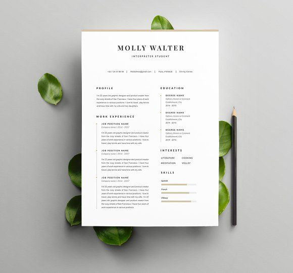 Modern Resume Template Molly A4