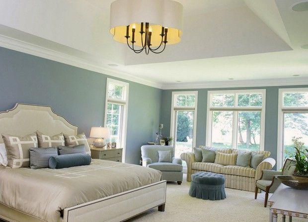 Голубые стены в интерьере спальни