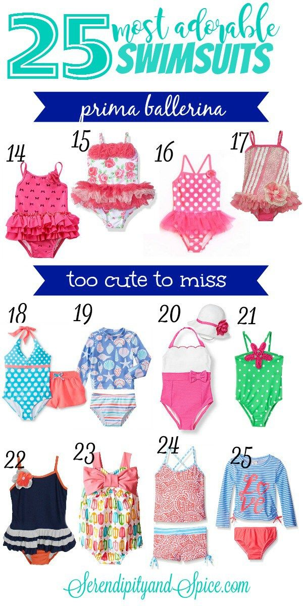 Most Adorable Toddler Girl Swimsuits ~ there are suits in every price range!  Click through for links directly to buy them...many are on sale! http://serendipityandspice.com