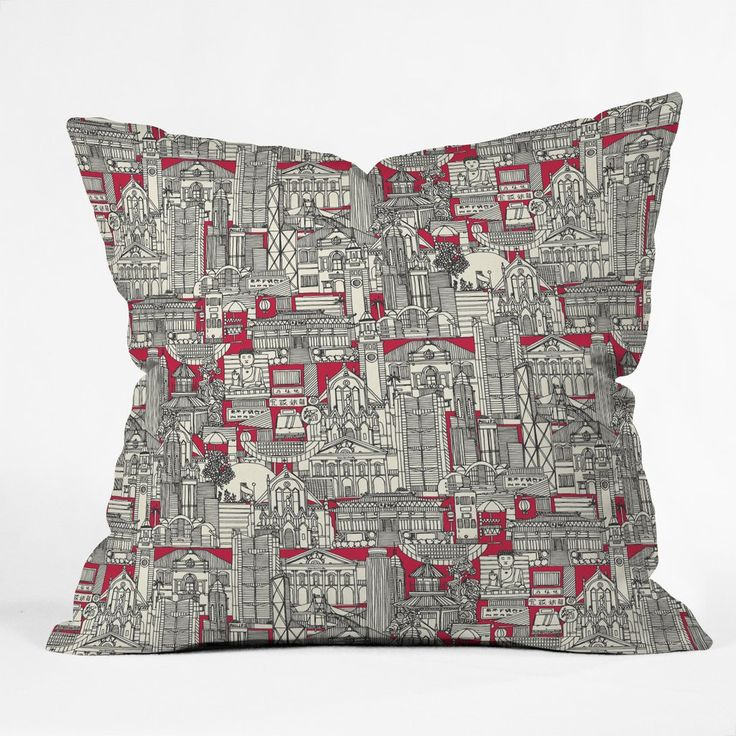 Sharon Turner Hong Kong toile red Throw Pillow | DENY Designs Home Accessories