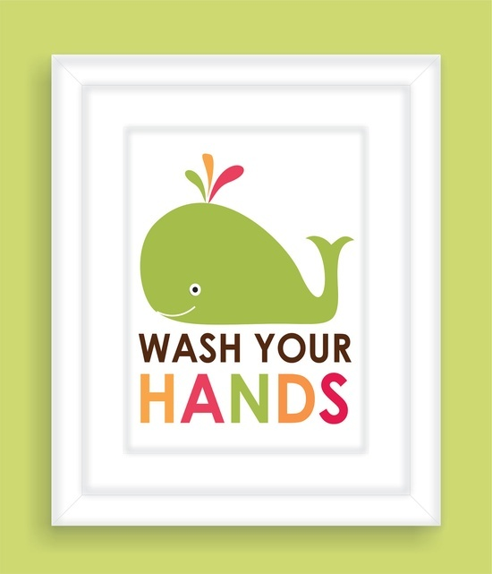 Children's Bathroom Wall Art with Whale, Children's Typography, Nursery wall art, Wall art for kids   -8x10. $12.00, via Etsy.
