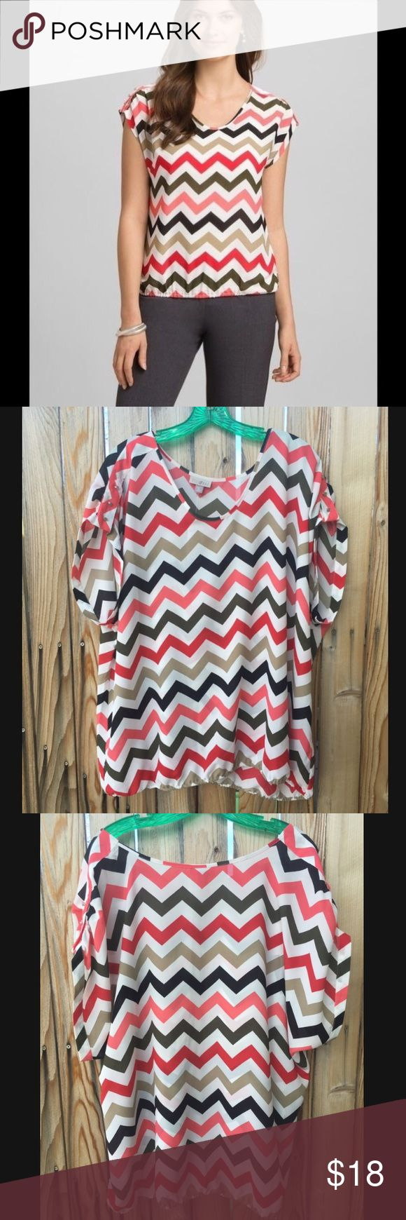NEW with Tags Roz & Ali Chevron Blouse Beautiful multi-colored chevron blouse by Roz & Ali (Roz Ali.) Lovely chevron pattern in white, tan, olive green, pink, red & black.  Brand NEW w/Tags! Roz & Ali Tops Blouses