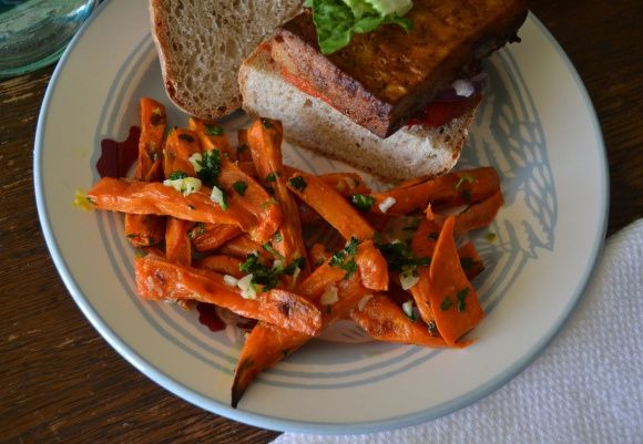 Sweet Potato Fries with Parsley, Garlic and Lemon Zest –