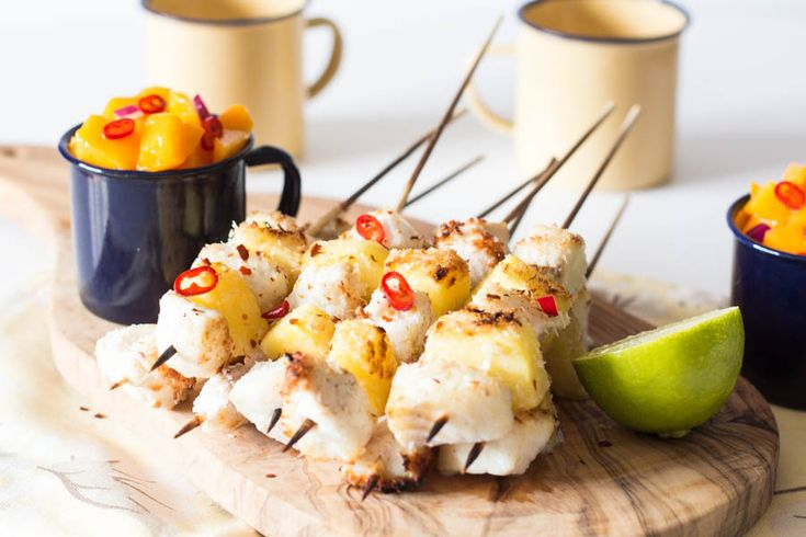 Coconut Encrusted Pineapple Fish Kebab Recipe | Recipes From A Pantry