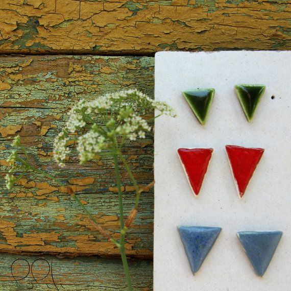 FREE SHIPPING! triangle ceramic earings, geometric stud earings, hand formed,green, red, blue
