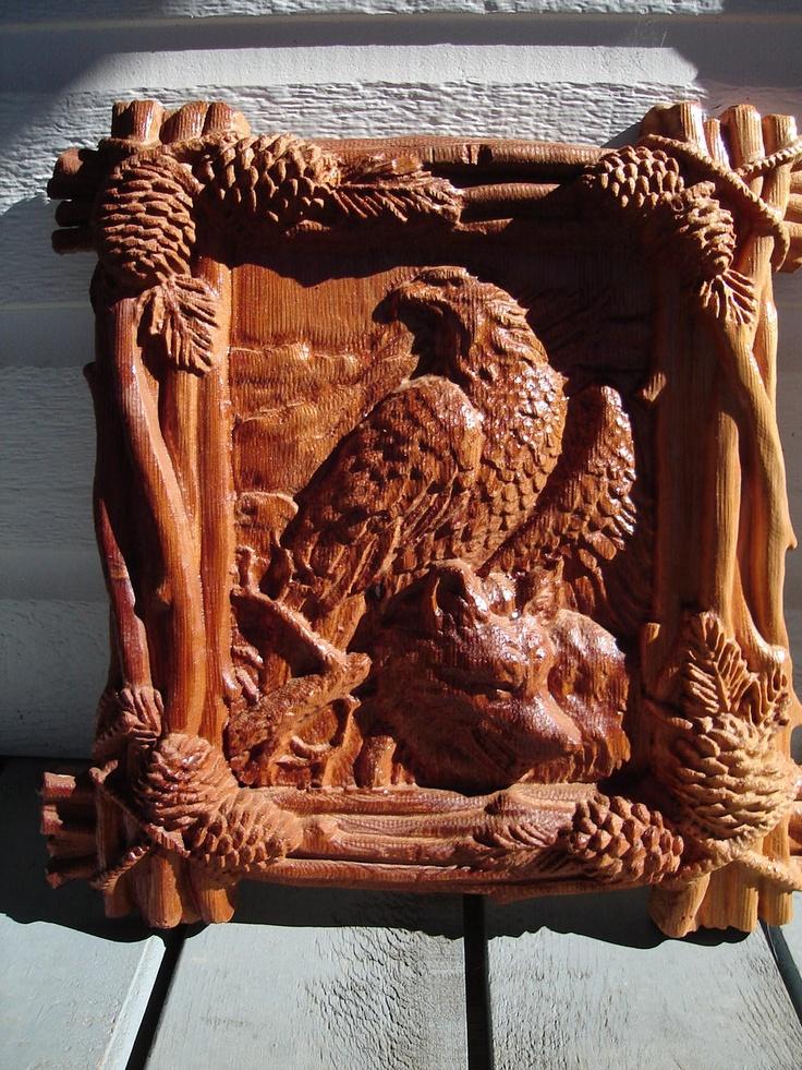 Wolf and eagle on cedar burningimpressions cnc stuff
