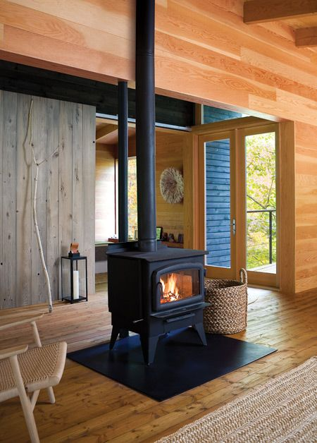 modern cabin, old fashioned fireplace