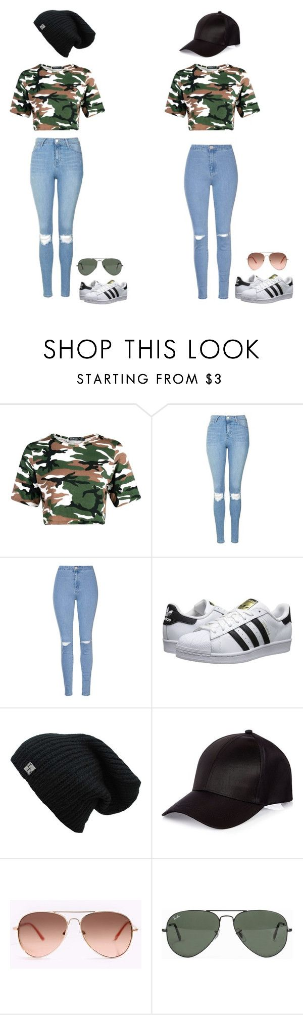 """Lisa and lena"" by molly-523-11-03 ❤ liked on Polyvore featuring Topshop, Glamorous, adidas Originals, River Island and Ray-Ban"
