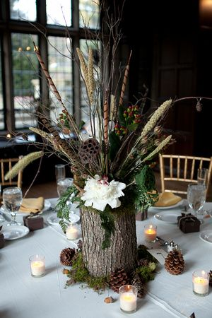 1 of the centerpieces. Change the flowers, have pinecones, plain tea lights, and pinecone name places.