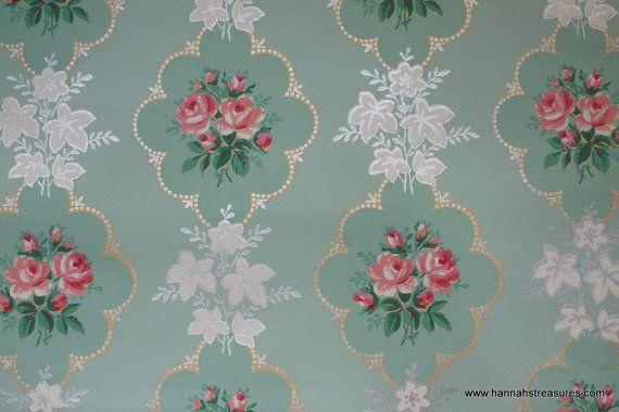 1940's Pink Rose vintage wallpaper on mint green background on Etsy, $14.69 CAD