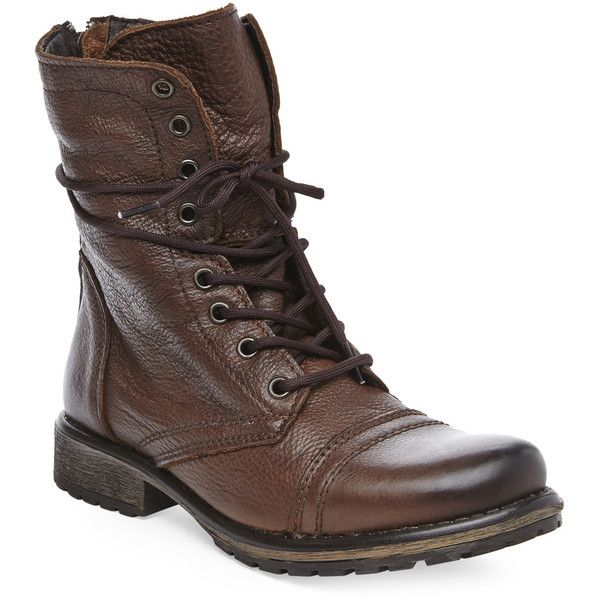 STEVE MADDEN Brown Fame Combat Boot found on Polyvore featuring shoes, boots, ankle booties, browns, brown booties, army boots, lace-up ankle booties, combat boots and lace up boots
