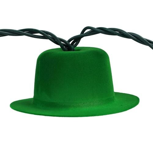 Set of 10 Green Derby Hat St. Patrick's Day Novelty Lights - Green Wire