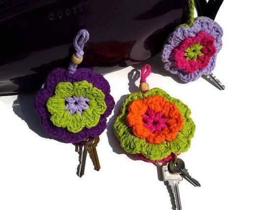 Crochet Keychain, Crochet Cover Key, Handmade Keychain, Flower Keychain, Crochet Key Cover, Handmade Key Chain, Keychain, Women Gift Ideas