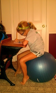 Have a child that has difficulty paying attention and focusing?  One that is constantly slouching or needing redirection?  Or, a child that has difficulty sitting still to complete his/her homework?  Try having the child sit on an exercise ball.  Studies have shown improved attention and focus when a child sits on a ball.