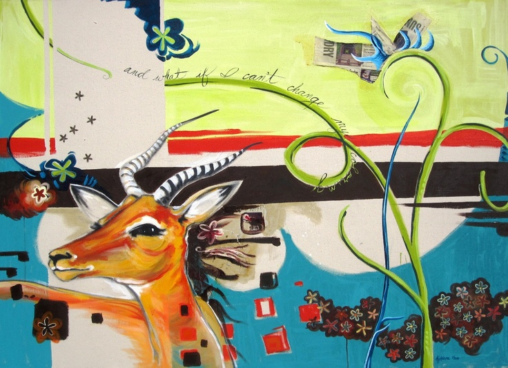 This beautiful mixed media piece by Kyhiera Miller Machado is currently hanging on our walls here at greenspace