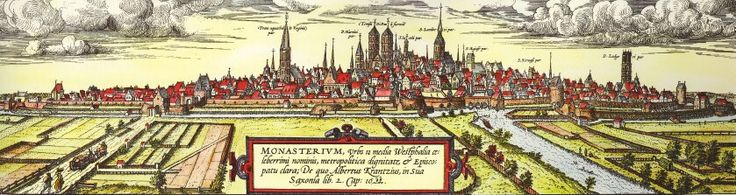 """Historical view of the German town ofMünsterbyGeorg BraunandFrans Hogenberg(between 1572 and 1618). Big churches seen on the picture (from left to right): Liebfrauenkirche (Überwasserkirche), St. Pauls-Cathedral (in the center), Lambertikirche, Ludgerikirche. In the center in front of the cathedral the """"Neuwerk"""" as part of the citywall where the river Aa crosses the city border."""
