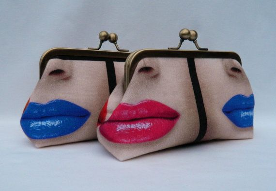 Set of TwoClutch Purses Lipstick Design Clutch by TheHeartLabel