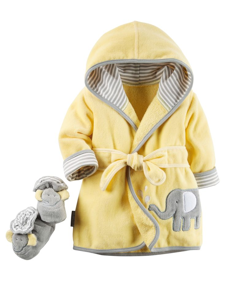 Baby Neutral Hooded Robe & Bootie Set | Carters.com More