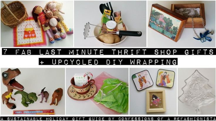 Thrift & charity are bursting with clever gifts & wrapping can be found in your recycling bin! 7 fab last minute thrift shop gifts + upcycled DIY wrapping