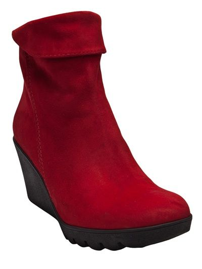 Suede booties in red from Lamica. These boots feature a round toe, fold over front shaft, and a 3