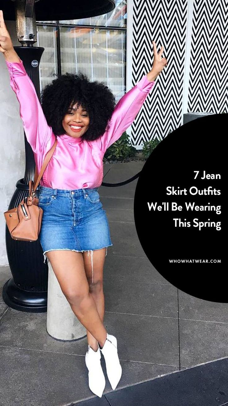 Cool jean skirt outfit ideas for spring / style tips