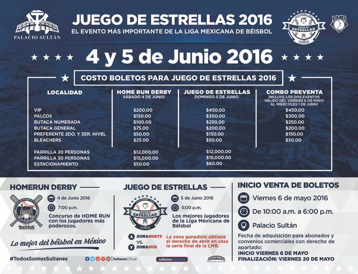 Recuerda que a partir de mañana puedes adquirir tus boletos para el juego de estrellas 2016. #TodosSomosBéisbol