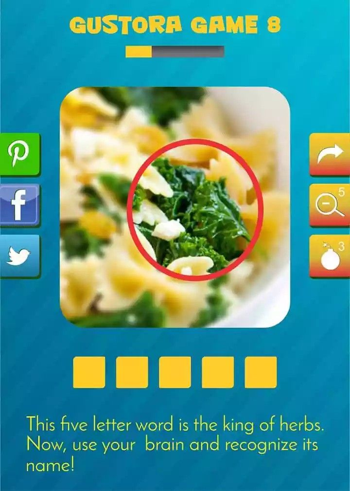Have a minute look on this picture! Something is highlighted in it but what is this green leaf like thing. Ohk! We are giving you a hint to make your task easy. This five letter word is the king of herbs. Now, use your brain and recognize its name! #Enjoyabletask#tastypasta#gustoragame#useyourbrain#reconizegame#pastalove#notimelimit#funtime#healthypasta#gustorafoods